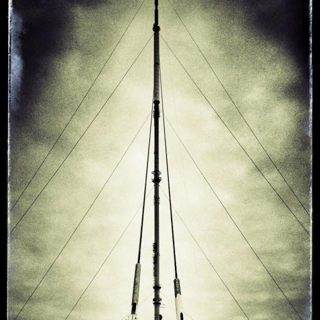 """Winter Hill TV transmitter mast"" stock image"