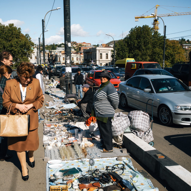 """Flea market with sellers and customers, Tbilisi, Georgia"" stock image"