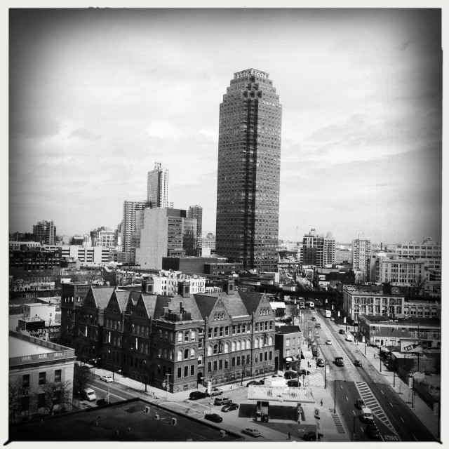"""""""Moma PS1 and Citi tower in Long Island City, Queens, NYC"""" stock image"""