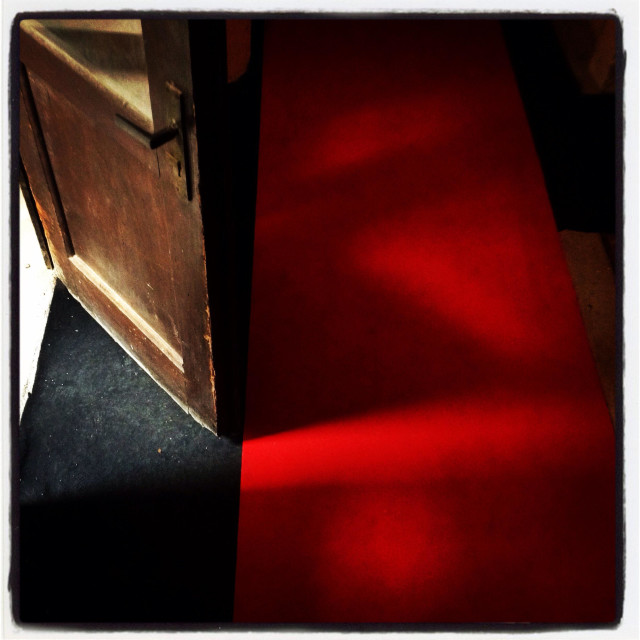 """""""Old red carpet and doors"""" stock image"""