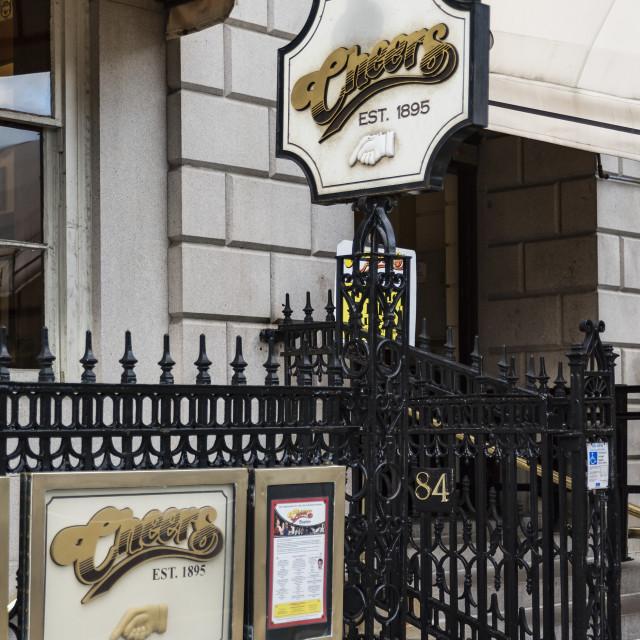"""Cheers Boston Beacon Hill, formerly the Bull and Finch Pub, Boston, Massachusetts, USA"" stock image"
