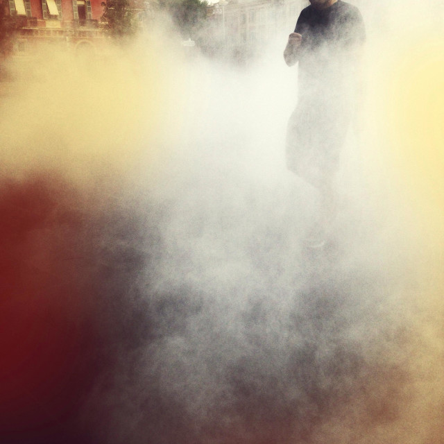 """""""Sinister man in the fog"""" stock image"""