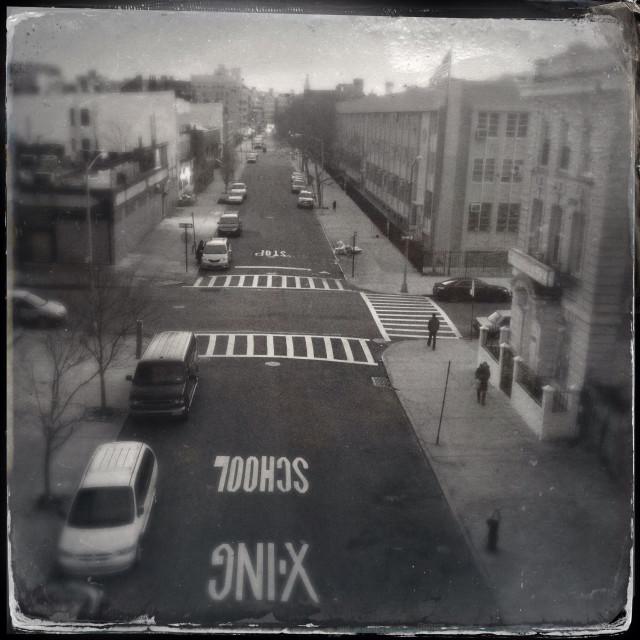 """Sleepy street scene in south Williamsburg, Brooklyn, NY"" stock image"