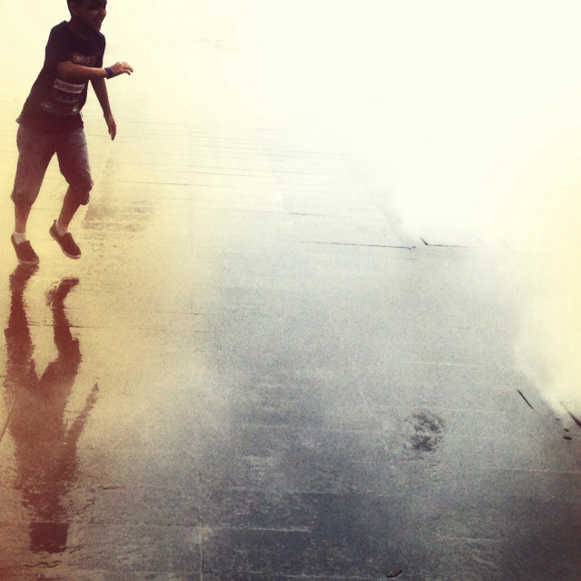 """""""Man reaching out in the mist"""" stock image"""