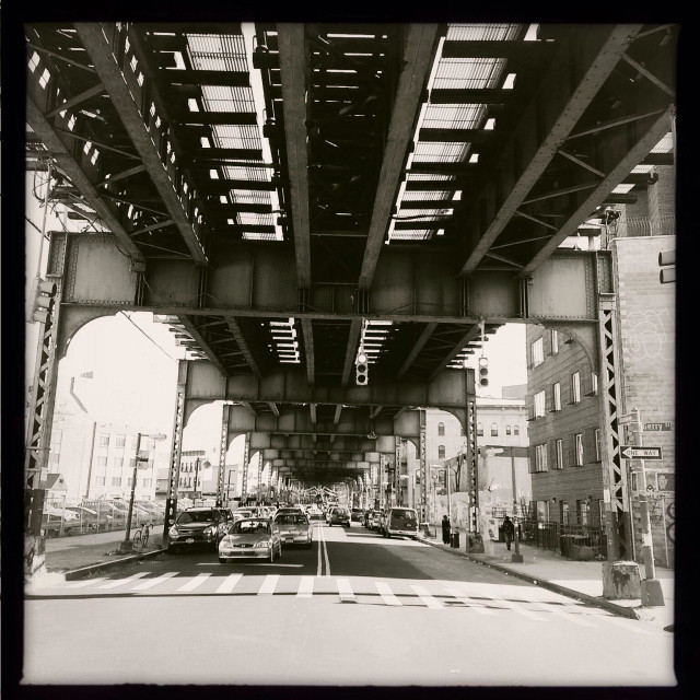 """""""Broadway and Lorimer ST on Brooklyn NY, under the J M Z subway line tracks"""" stock image"""