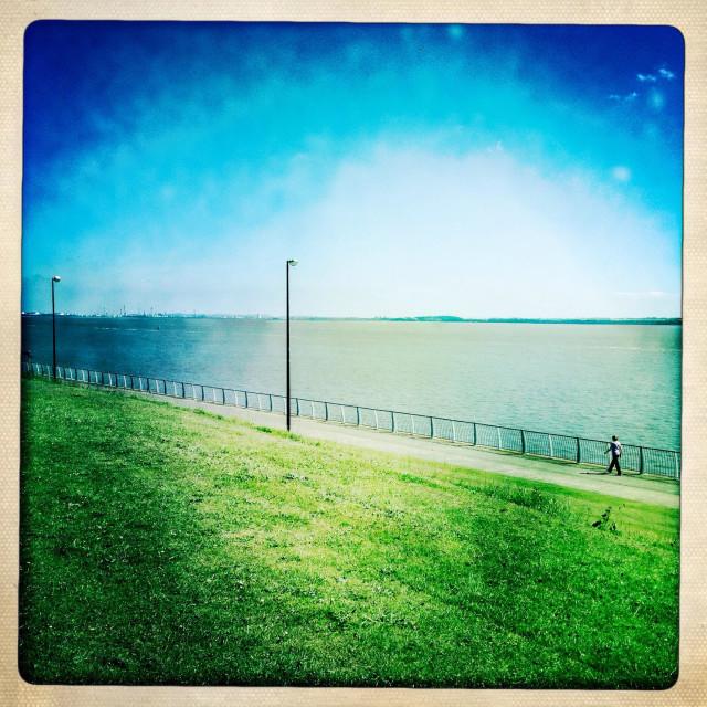 """Otterspool promenade Liverpool in bright sunshine. Hipstamatic"" stock image"