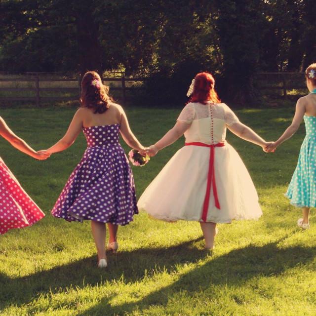 """Bright vintage wedding with bridesmaids"" stock image"