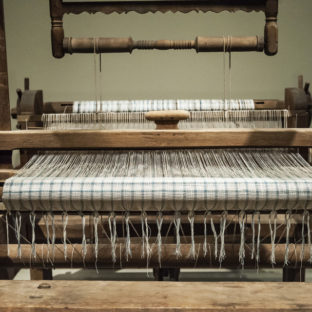 """Antique loom, Winterthur decorative Arts Museum and Gardens, Delaware, USA"" stock image"