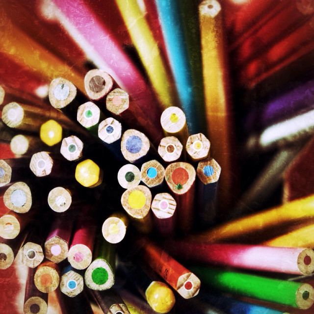"""""""Colouring pencils stood up"""" stock image"""