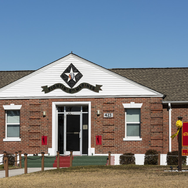"""6th Marine Regiment Headquarters, Marine Corps Base Camp Lejeune, North Carolina, USA"" stock image"