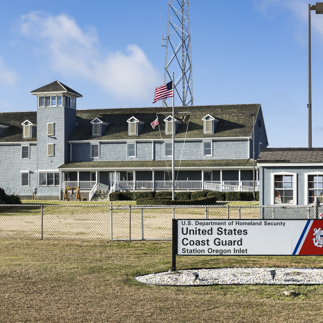 """United States Coast Guard Station, Oregan Inlet, Nags Head, North Carolina, USA"" stock image"
