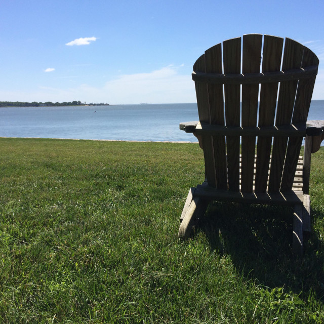 """Empty Adirondack Chair"" stock image"