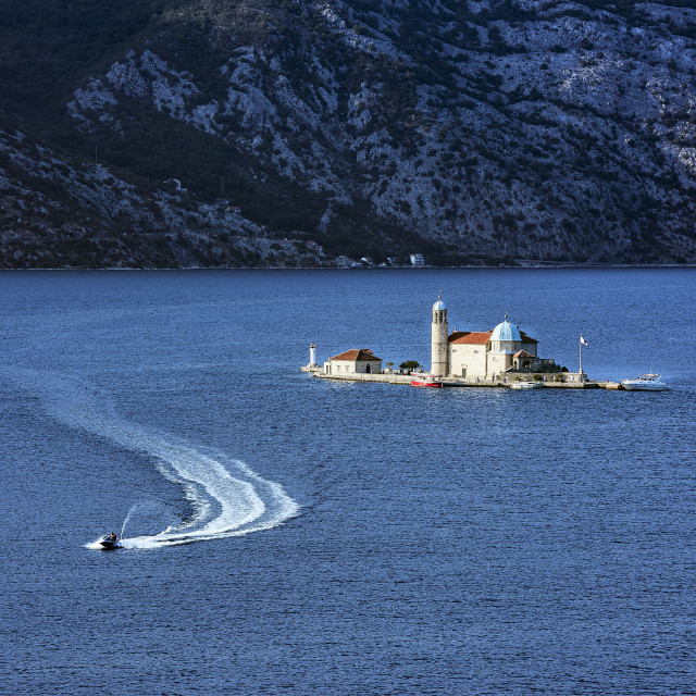 """""""Our Lady of the Rocks church sits on a small man made island in the Bay of Kotor, Perast, Montenegro"""" stock image"""