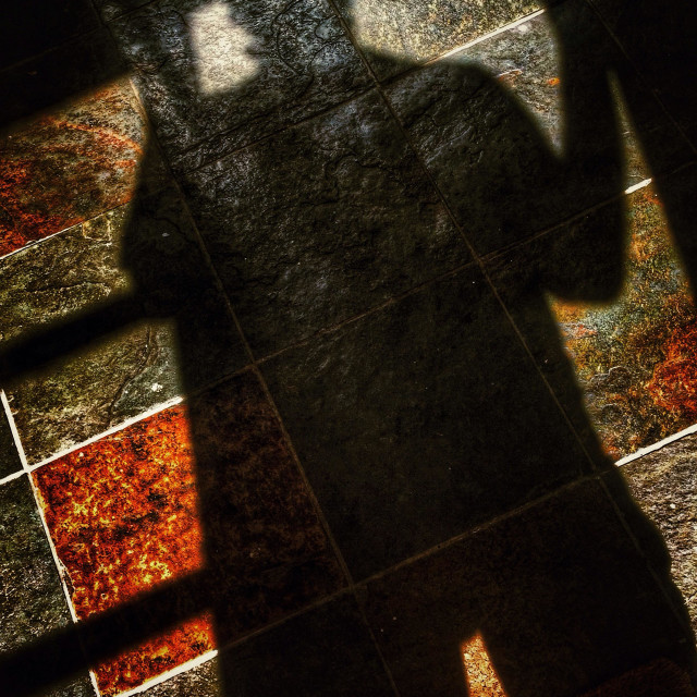 """""""Shadow of man on slate tiled floor entering room through French windows"""" stock image"""