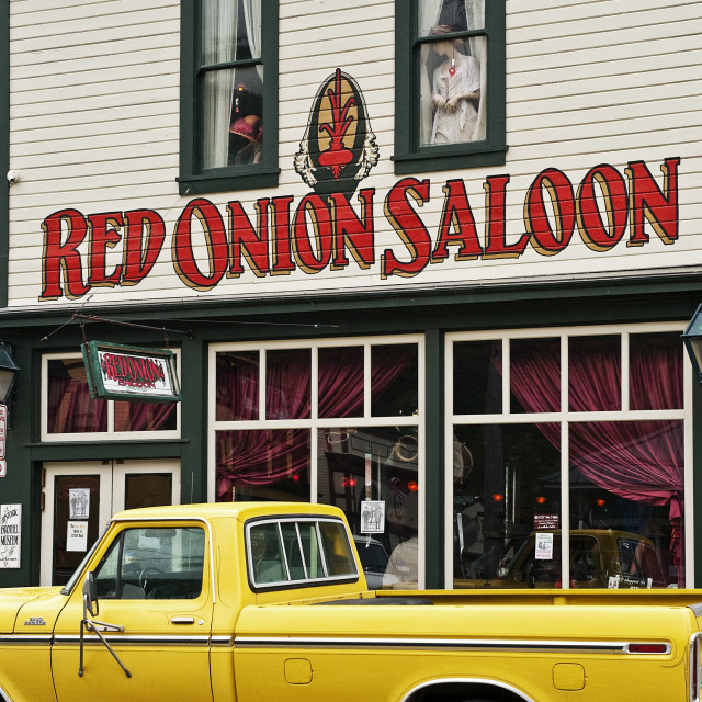 """Red Onion Saloon, Skagway, Alaska, USA"" stock image"