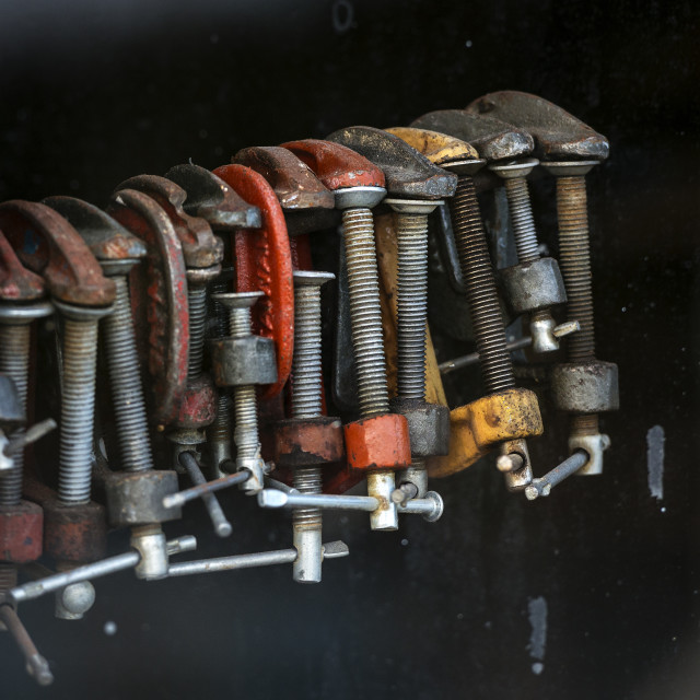 """""""Set of old vice in a workshop."""" stock image"""
