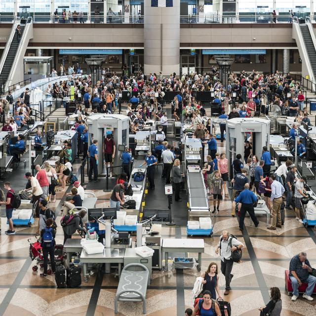"""""""TSA security check, Denver airport, Colorado, USA"""" stock image"""