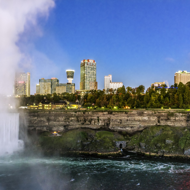 """Horseshoe Fall and city skyline, Niagara Falls, Ontario, Canada."" stock image"