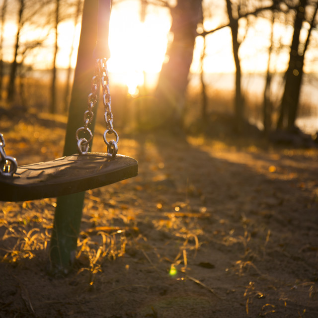 """Swing in autumn sunrise"" stock image"