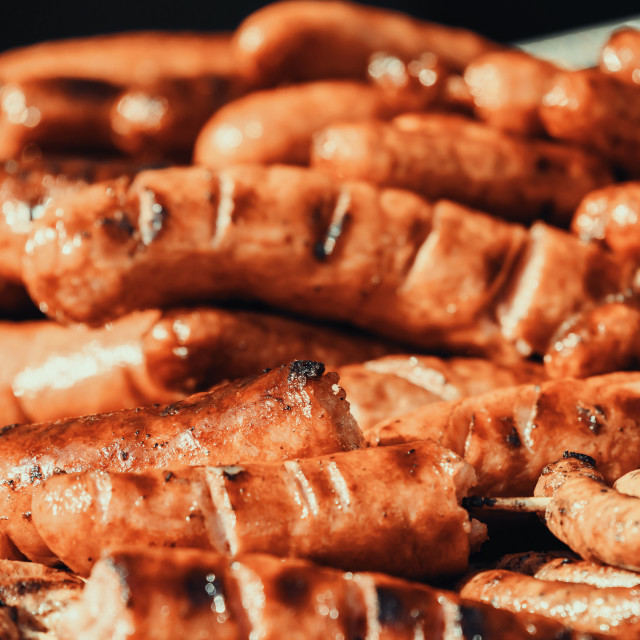"""Sausages On Barbecue Grill"" stock image"