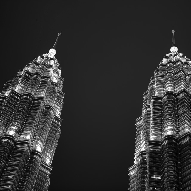 """PETRONAS Twin Towers by night"" stock image"