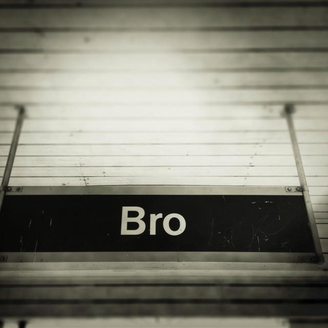 """""""Sign at Bro train station outside Stockholm, Sweden."""" stock image"""