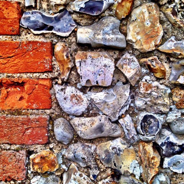 """Flint wall with brick"" stock image"