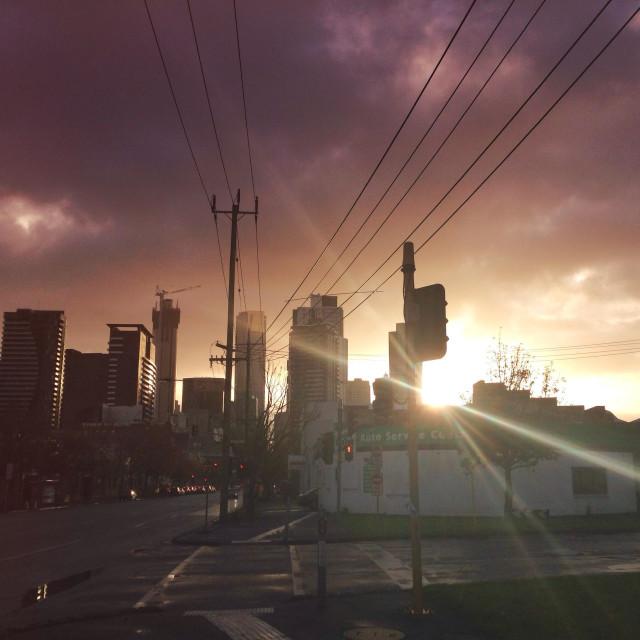 """Urban Street Sunrise"" stock image"