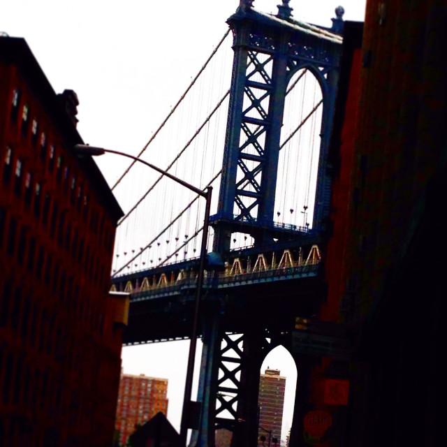 """View of Manhattan bridge from Dumbo, Brooklyn,NY"" stock image"