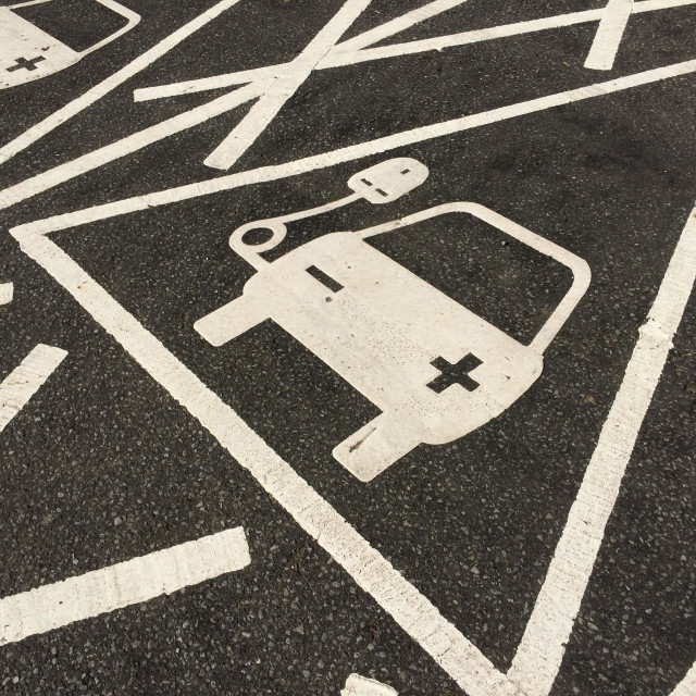"""""""Recharging point for cars at at service station"""" stock image"""