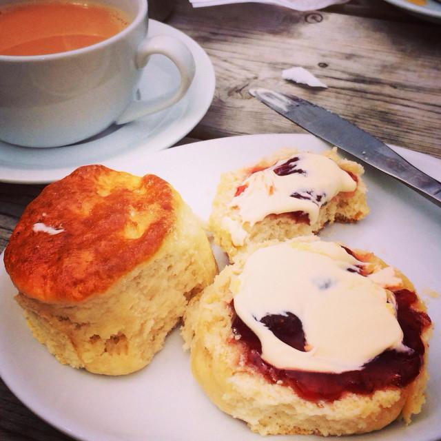 """Cream Tea in Cornwall"" stock image"