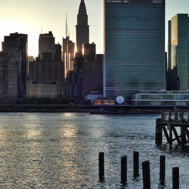 """UN headquarters in NYC view from Long Island City. East River"" stock image"