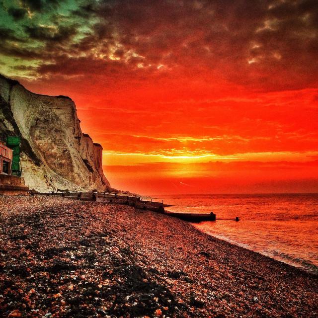 """""""Daybreak over St Margarets Bay"""" stock image"""