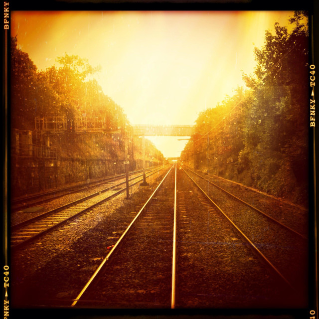 """UK railway lines - vintage film style."" stock image"