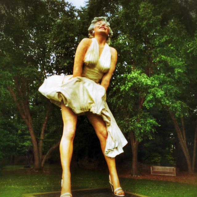 """Sculpture of Marilyn Monroe with her dress being blown up"" stock image"