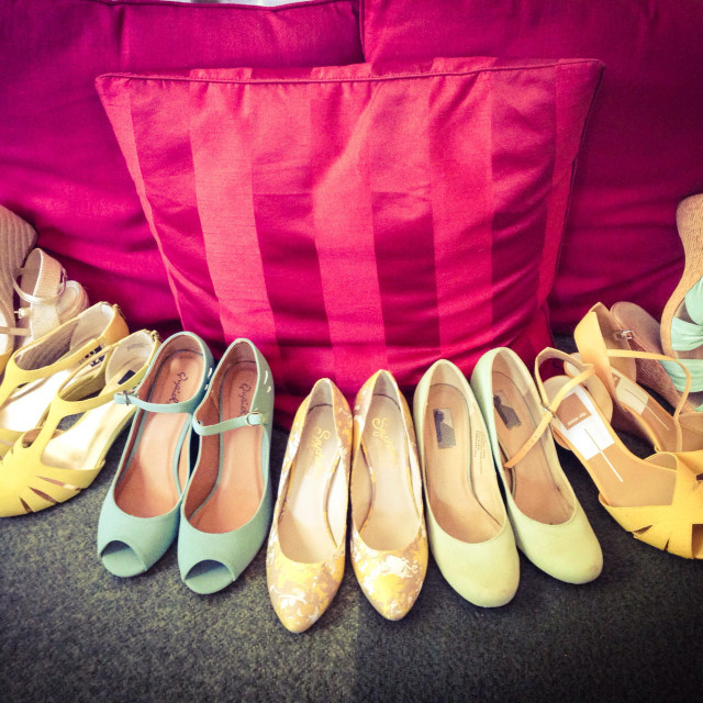 """""""All the bridesmaids shoes."""" stock image"""