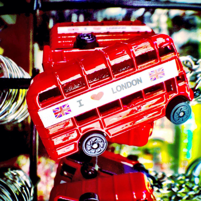 """I Love London, Routemaster bus, key ring, tourist shop"" stock image"