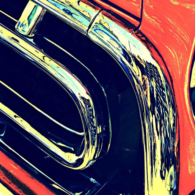 """Chrome work on front of orange Chevrolet 3100 pick up truck"" stock image"