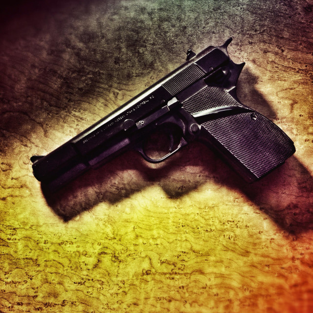 """Browning 9mm automatic handgun."" stock image"