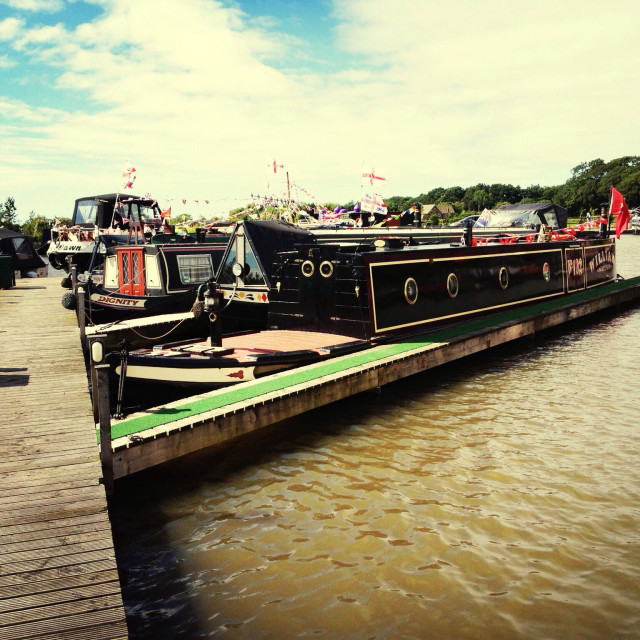 """""""Narrowboat at a marina"""" stock image"""