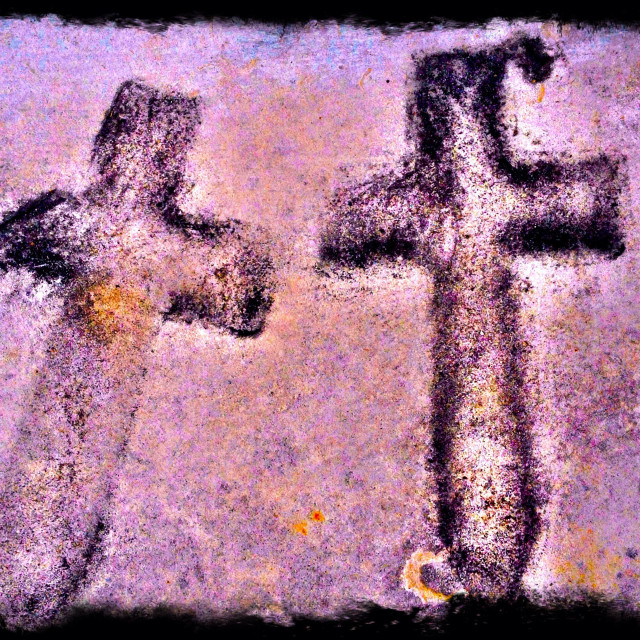 """""""Outline of two crosses placed at the Cenotaph WW1 war memorial in London"""" stock image"""
