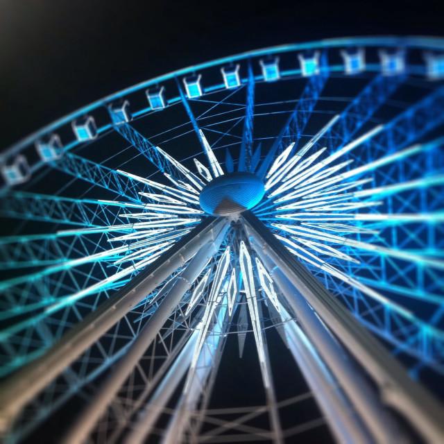 """Nighttime view facing southeast, looking up at the 200-foot-tall SkyView Atlanta ferris wheel at 168 Luckie Street NW, Atlanta GA, USA, on September 30, 2013."" stock image"