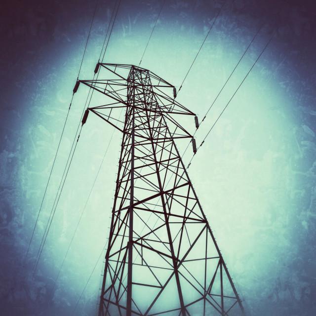 """Looking up at power pylon"" stock image"