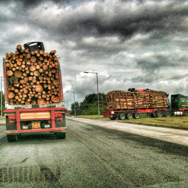 """logging trucks in industrial area dramatic graphic 3D texture"" stock image"