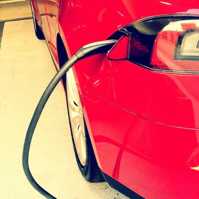 """""""Tesla model S recharging"""" stock image"""
