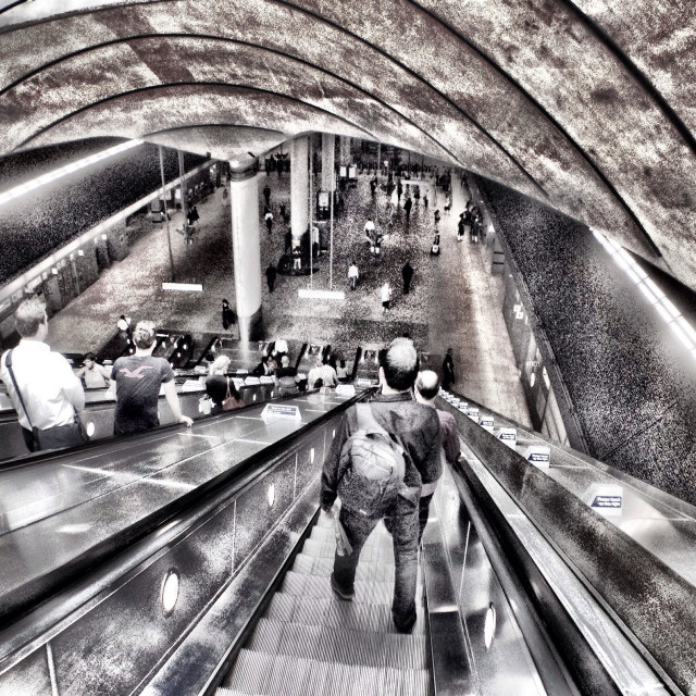 """""""Canary Wharf underground station escalators"""" stock image"""
