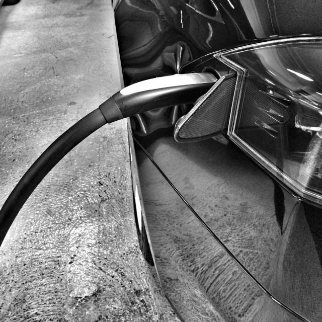 """""""Recharging Tesla Model S"""" stock image"""