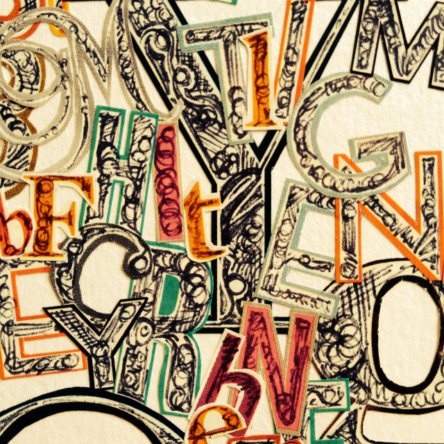 """""""Close up of doodle collage of letters"""" stock image"""