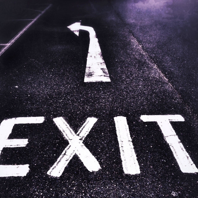"""""""Exit sign on road"""" stock image"""