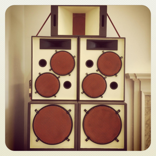 """Colourful speakers, sound system. London"" stock image"